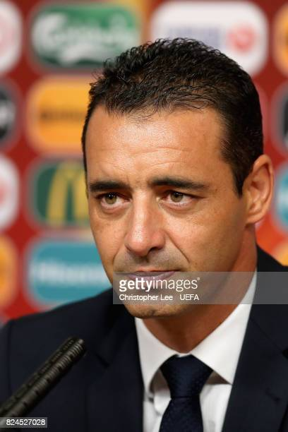 Olivier Echouafni head coach of France speaks to the media during a press confrence after the UEFA Women's Euro 2017 Quarter Final match between...