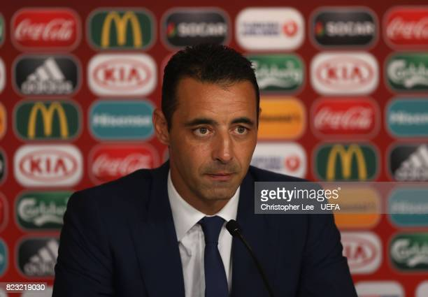 Olivier Echouafni head coach of France talks to the media in the pres sconference during the UEFA Women's Euro 2017 Group C match between Switzerland...