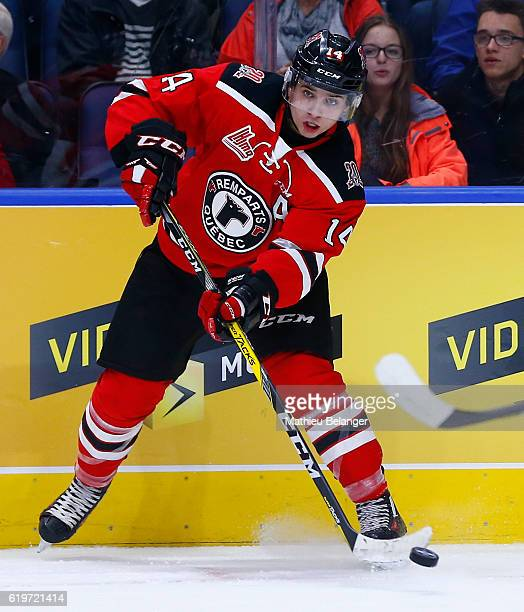Olivier Garneau of the Quebec Remparts skates against the Baie Comeau Drakkar during their QMJHL hockey game at the Centre Videotron on October 14...