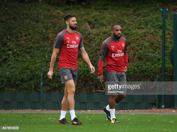 Olivier Giroud and Alexandre Lacazette of Arsenal during Arsenal 1st team training session at London Colney on September 16 2017 in St Albans England