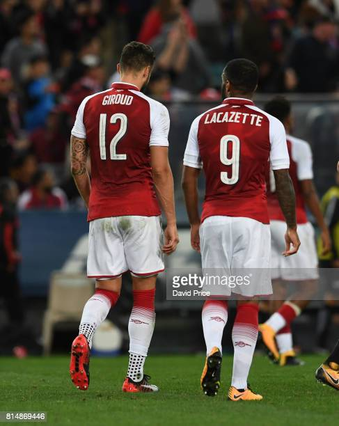 Olivier Giroud and Alexandre Lacazette of Arsenal during the match between the Western Sydney Wanderers and Arsenal FC at ANZ Stadium on July 15 2017...