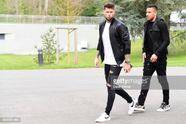 Olivier Giroud and Corentin Tolisso of France arriving at Centre National du Football on March 20 2017 in Clairefontaine France