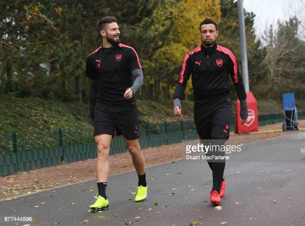 Olivier Giroud and Francis Coquelin of Arsenal during a training session at London Colney on November 22 2017 in St Albans England
