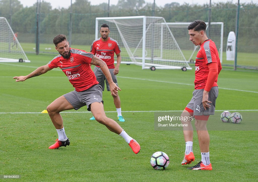 Olivier Giroud and Hector Bellerin of Arsenal during a training session at London Colney on August 19 2016 in St Albans England