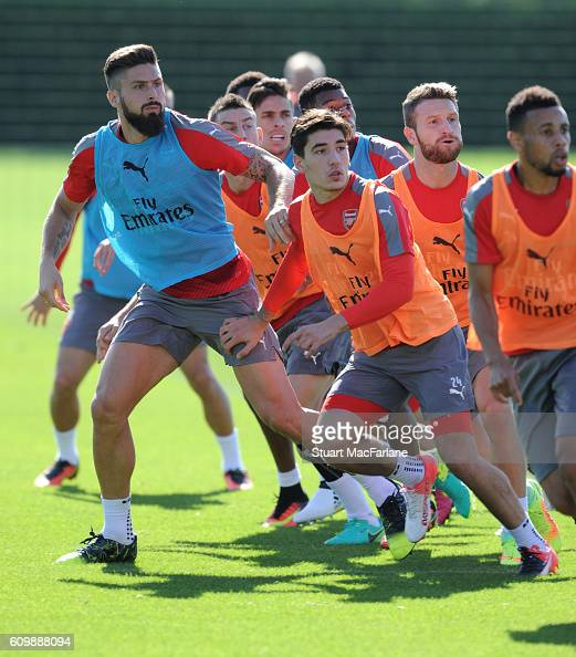 Olivier Giroud and Hector Bellerin of Arsenal during a training session at London Colney on September 23 2016 in St Albans England