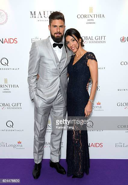 Olivier Giroud and wife Jennifer attend the Global Gift Gala in partnership with Quintessentially on November 19 2016 at the Corithinia Hotel in...