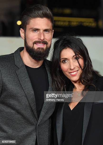 Olivier Giroud and wife Jennifer Giroud attend the World Premiere of 'I Am Bolt' at Odeon Leicester Square on November 28 2016 in London England