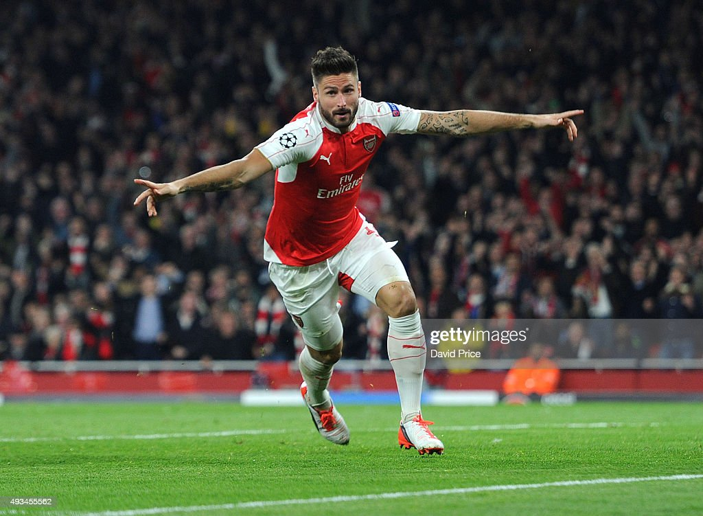 <a gi-track='captionPersonalityLinkClicked' href=/galleries/search?phrase=Olivier+Giroud&family=editorial&specificpeople=5678034 ng-click='$event.stopPropagation()'>Olivier Giroud</a> celebrates scoring a goal for Arsenal during the UEFA Champions League match between Arsenal and Bayern Munich at Emirates Stadium on October 20, 2015 in London, United Kingdom.