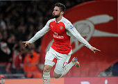 Olivier Giroud celebrates scoring Arsenal's 2nd goal during the Barclays Premier League match between Arsenal and Manchester City at Emirates Stadium...