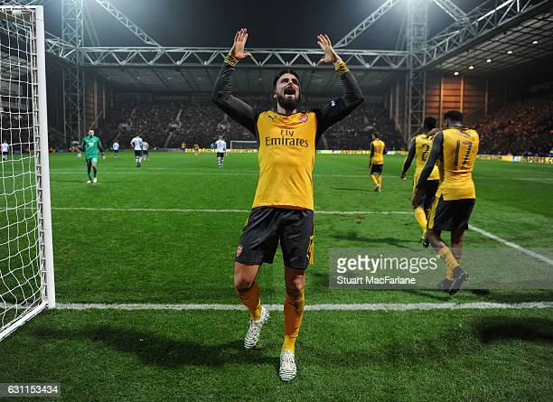 Olivier Giroud celebrates scoring the 2nd Arsenal goal during the Emirates FA Cup Third Round match between Preston North End and Arsenal at Deepdale...