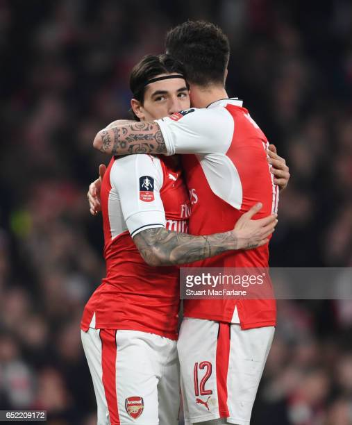 Olivier Giroud celebrates scoring the 2nd Arsenal goal with Hector Bellerin during the Emirates FA Cup QuarterFinal between Arsenal and Lincoln City...
