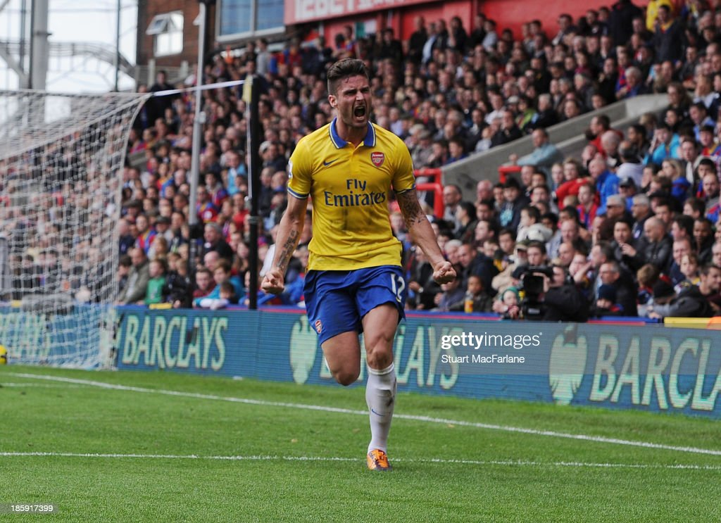 <a gi-track='captionPersonalityLinkClicked' href=/galleries/search?phrase=Olivier+Giroud&family=editorial&specificpeople=5678034 ng-click='$event.stopPropagation()'>Olivier Giroud</a> celebrates scoring their second goal during the Barclays Premier League match between Crystal Palace and Arsenal at Selhurst Park on October 26, 2013 in London, England.