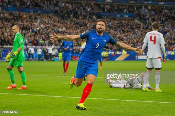 Olivier Giroud during the World Cup Group A qualifying soccer match between France and Belarus at Stade de France