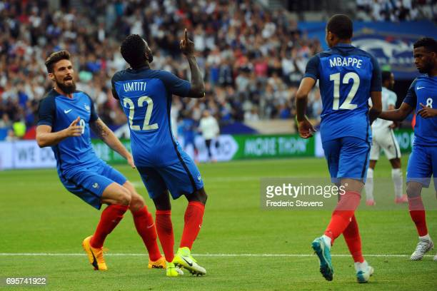 Olivier Giroud forward and Samuel Umtiti defender of France Football team after his goal during the International friendly match between France and...