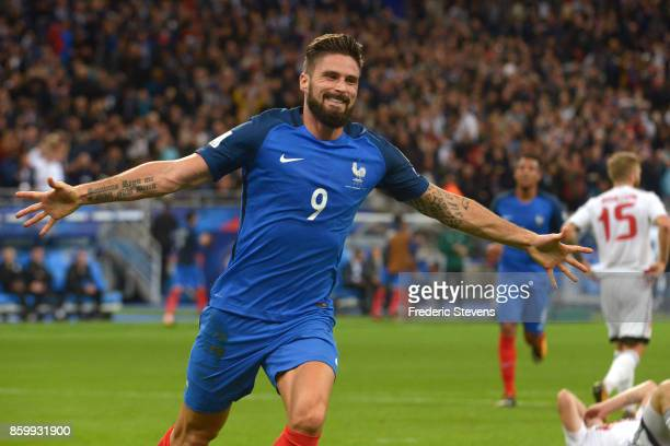 Olivier Giroud forward of France Football team celebrate his goal during the FIFA 2018 World Cup Qualifier between France and Belarus at Stade de...