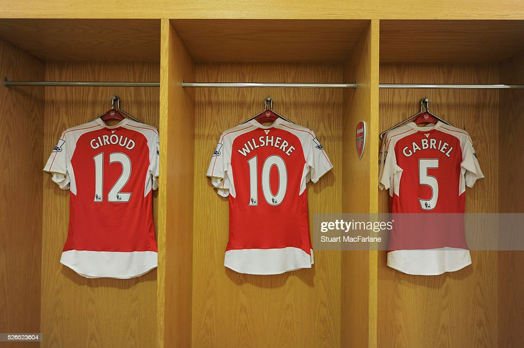 Olivier Giroud, Jack Wilshere and Gabriel shirt's in the Arsenal changing room changing room before the Barclays Premier League match between Arsenal and Norwich City at Emirates Stadium on April 30, 2016 in London, England.
