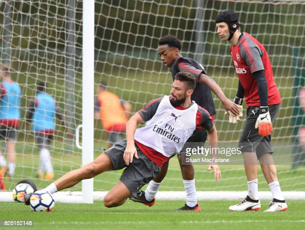 Olivier Giroud Joe Willock and Petr Cech of Arsenal during a training session at London Colney on August 1 2017 in St Albans England