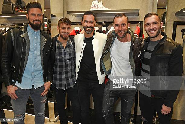 Olivier Giroud Mathieu Debuchy Robert Pires Philipp Plein and Lucas Perez attend a cocktail party hosted by Philipp Plein to celebrate the opening of...