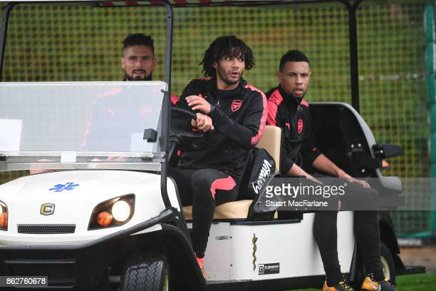 Olivier Giroud Mohamed Elneny and Francis Coquelin of Arsenal after a training session at London Colney on October 18 2017 in St Albans England