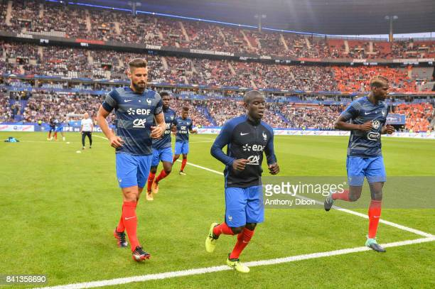 Olivier Giroud Ngolo Kante and Paul Pogba of France during the Fifa 2018 World Cup qualifying match between France and Netherlands at Stade France on...
