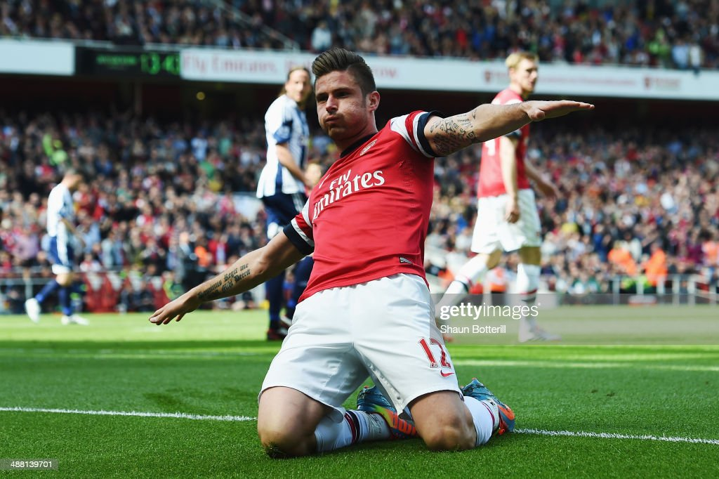 <a gi-track='captionPersonalityLinkClicked' href=/galleries/search?phrase=Olivier+Giroud&family=editorial&specificpeople=5678034 ng-click='$event.stopPropagation()'>Olivier Giroud</a> of Arsenal after scoring during the Barclays Premier League match between Arsenal and West Bromwich Albion at the Emirates Stadium on May 4, 2014 in London, England.