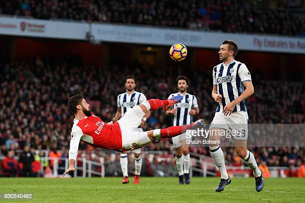Olivier Giroud of Arsenal attempts an overhead kick at goal during the Premier League match between Arsenal and West Bromwich Albion at Emirates...