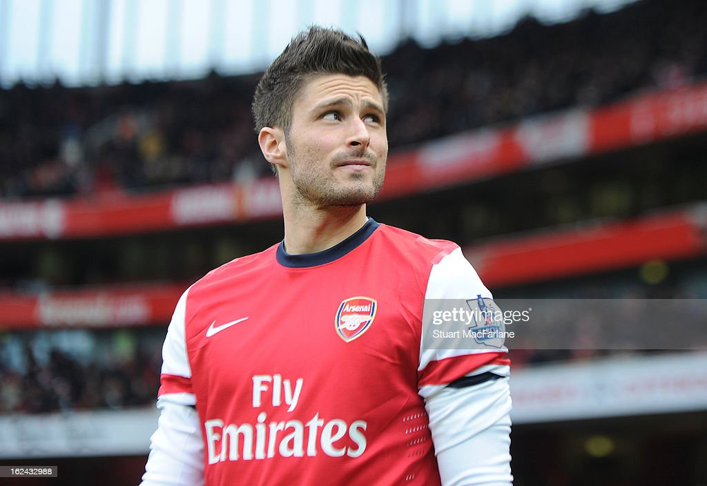 Olivier Giroud of Arsenal before the Barclays Premier League match between Arsenal and Aston Villa at Emirates Stadium on February 23, 2013 in London, England.