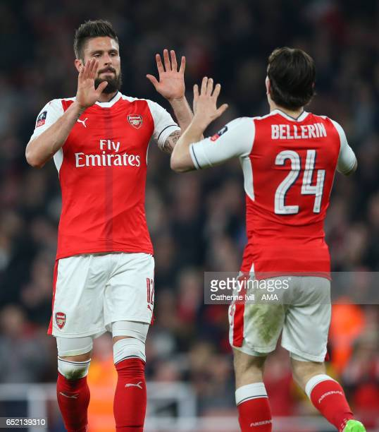Olivier Giroud of Arsenal celebrates after he scores to make it 20 with Hector Bellerin of Arsenal during The Emirates FA Cup QuarterFinal match...