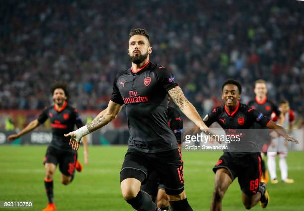 Olivier Giroud of Arsenal celebrates after scoring a goal during the UEFA Europa League group H match between Crvena Zvezda and Arsenal FC at Rajko...