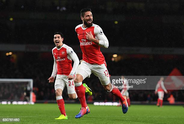 Olivier Giroud of Arsenal celebrates after scoring the opening goal during the Premier League match between Arsenal and Crystal Palace at the...