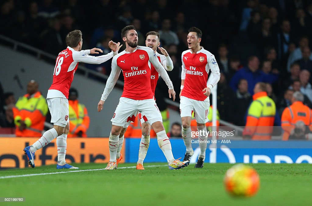 Olivier Giroud of Arsenal celebrates after scoring to make it 2-0 during the Barclays Premier League match between Arsenal and Manchester City at the Emirates Stadium on December 21, 2015 in London, England.