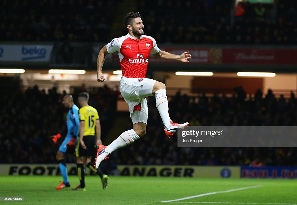 Olivier Giroud of Arsenal celebrates as he scores their second goal during the Barclays Premier League match between Watford and Arsenal at Vicarage Road on October 17, 2015 in Watford, England.