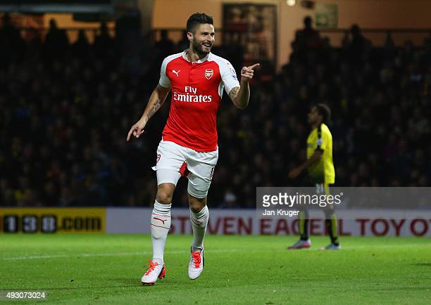 Olivier Giroud of Arsenal celebrates as he scores their second goal during the Barclays Premier League match between Watford and Arsenal at Vicarage...
