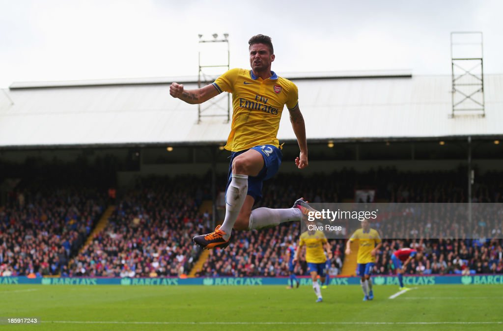 <a gi-track='captionPersonalityLinkClicked' href=/galleries/search?phrase=Olivier+Giroud&family=editorial&specificpeople=5678034 ng-click='$event.stopPropagation()'>Olivier Giroud</a> of Arsenal celebrates his goal during the Barclays Premier League match between Crystal Palace and Arsenal at Selhurst Park on October 26, 2013 in London, England.