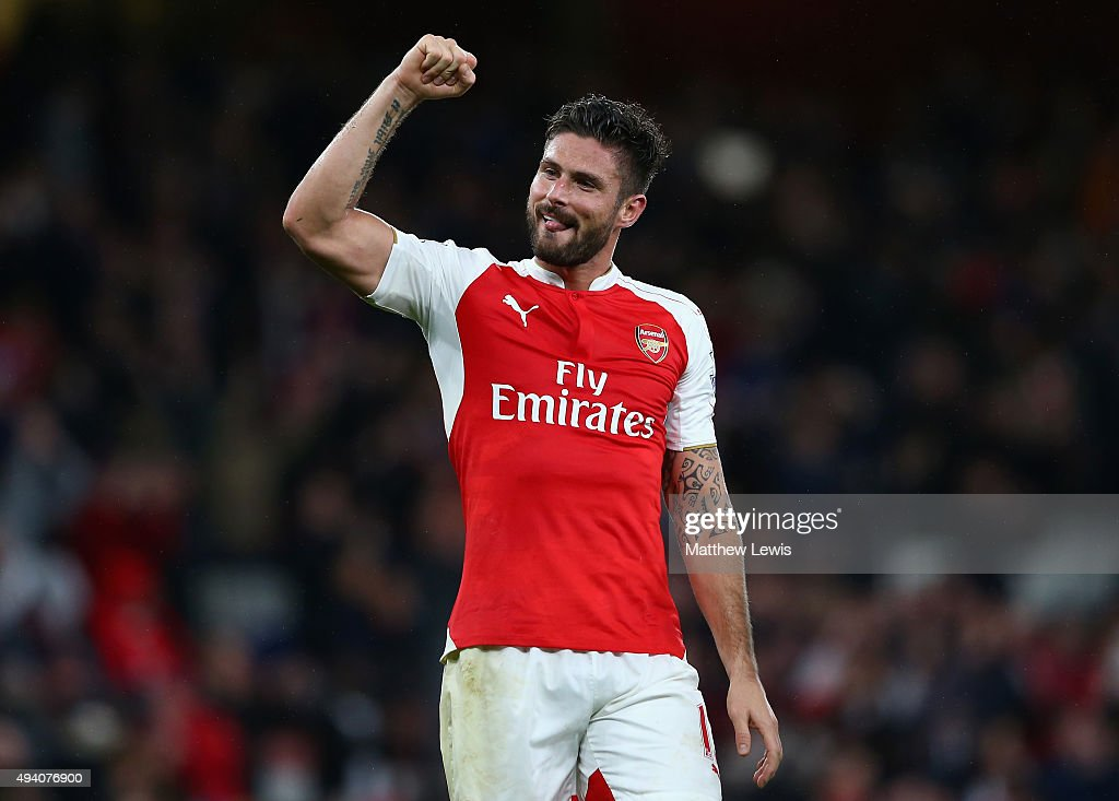 <a gi-track='captionPersonalityLinkClicked' href=/galleries/search?phrase=Olivier+Giroud&family=editorial&specificpeople=5678034 ng-click='$event.stopPropagation()'>Olivier Giroud</a> of Arsenal celebrates his team's 2-1 win in the Barclays Premier League match between Arsenal and Everton at Emirates Stadium on October 24, 2015 in London, England.