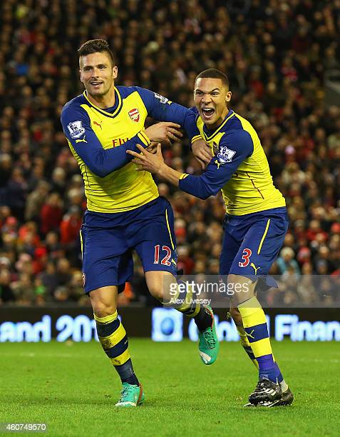 Olivier Giroud of Arsenal celebrates scoring his goal with Kieran Gibbs of Arsenal during the Barclays Premier League match between Liverpool and...