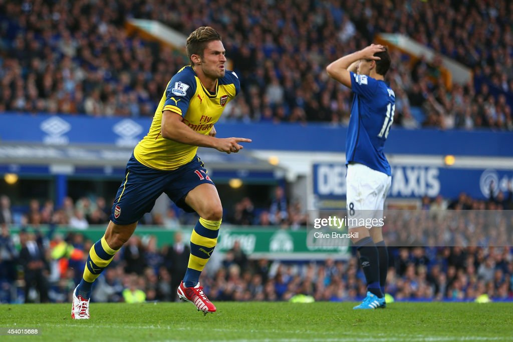 <a gi-track='captionPersonalityLinkClicked' href=/galleries/search?phrase=Olivier+Giroud&family=editorial&specificpeople=5678034 ng-click='$event.stopPropagation()'>Olivier Giroud</a> of Arsenal celebrates scoring his team's second goal during the Barclays Premier League match between Everton and Arsenal at Goodison Park on August 23, 2014 in Liverpool, England.