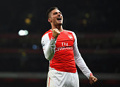 Olivier Giroud of Arsenal celebrates scoring his team's third goal during the Barclays Premier League match between Arsenal and Newcastle United at...
