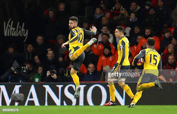 Olivier Giroud of Arsenal celebrates scoring his team's third goal during the Premier League match between AFC Bournemouth and Arsenal at Vitality...