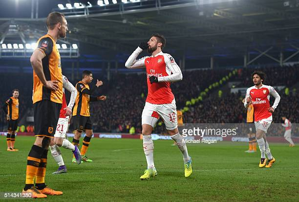 Olivier Giroud of Arsenal celebrates scoring the opening goal during the Emirates FA Cup Fifth Round Replay match between Hull City and Arsenal at KC...