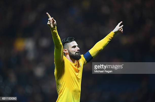 Olivier Giroud of Arsenal celebrates victory after the Emirates FA Cup Third Round match between Preston North End and Arsenal at Deepdale on January...