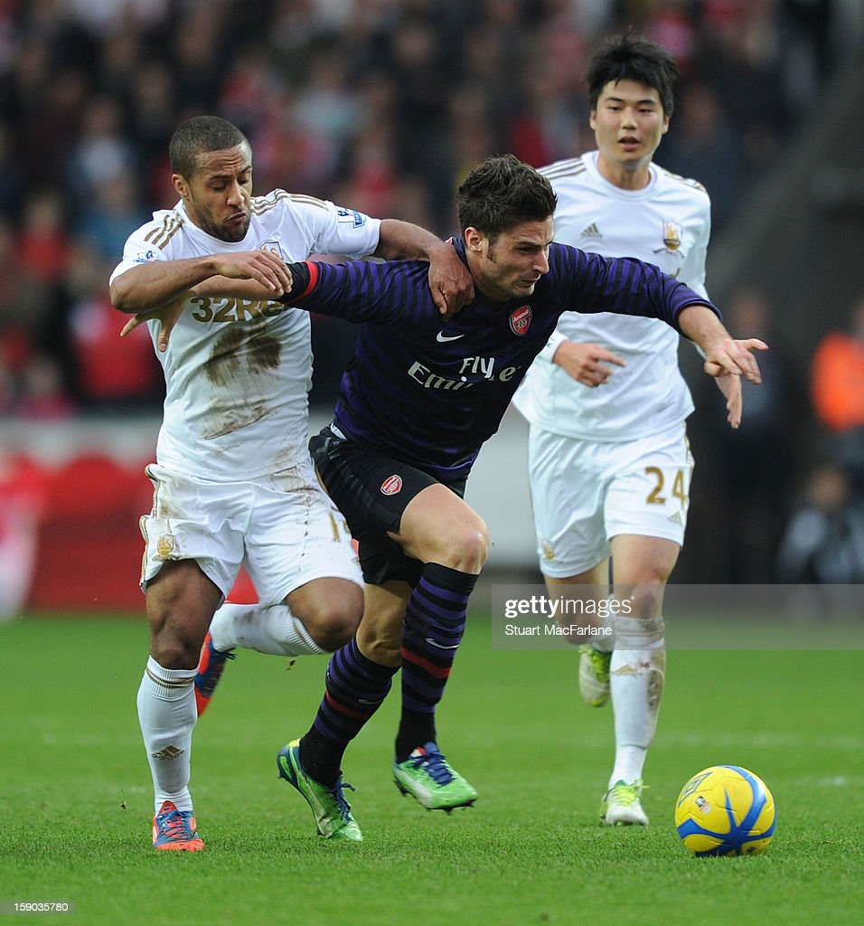 Olivier Giroud of Arsenal challenged by Wayne Routledge of Swansea during the FA Cup Third Round match between Swansea City and Arsenal at the Liberty Stadium on January 6, 2013 in Swansea, Wales.