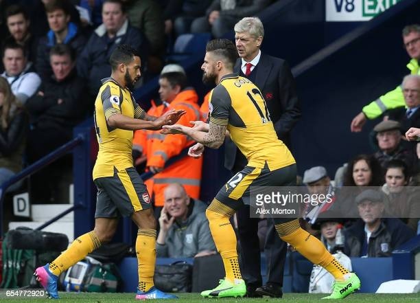 Olivier Giroud of Arsenal comes on for Theo Walcott of Arsenal during the Premier League match between West Bromwich Albion and Arsenal at The...