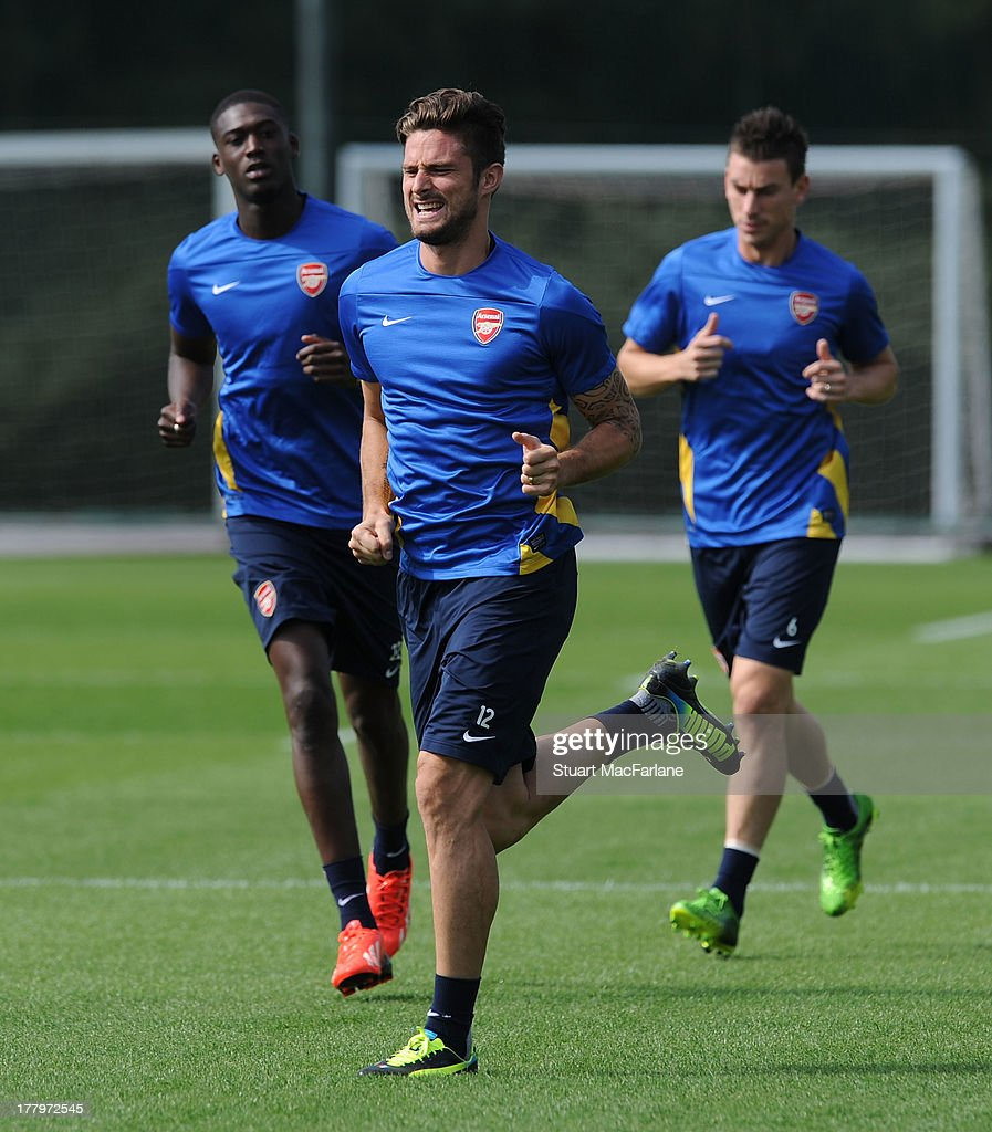 Olivier Giroud of Arsenal during a training session ahead of their UEFA Champions League Play Off second leg match against Fenerbache at London Colney on August 26, 2013 in St Albans, England.