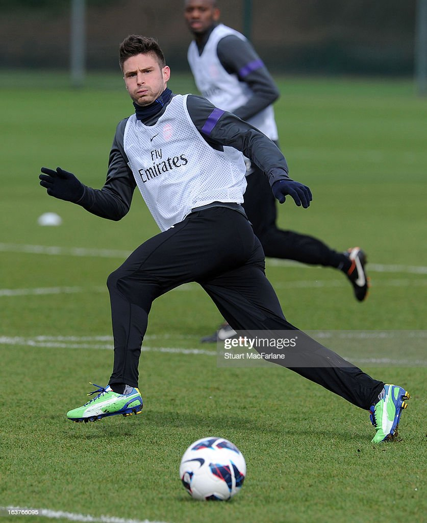 Olivier Giroud of Arsenal during a training session at London Colney on March 15, 2013 in St Albans, England.