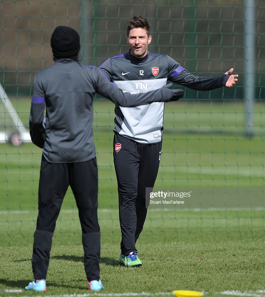 Olivier Giroud of Arsenal during a training session at London Colney on March 29, 2013 in St Albans, England.