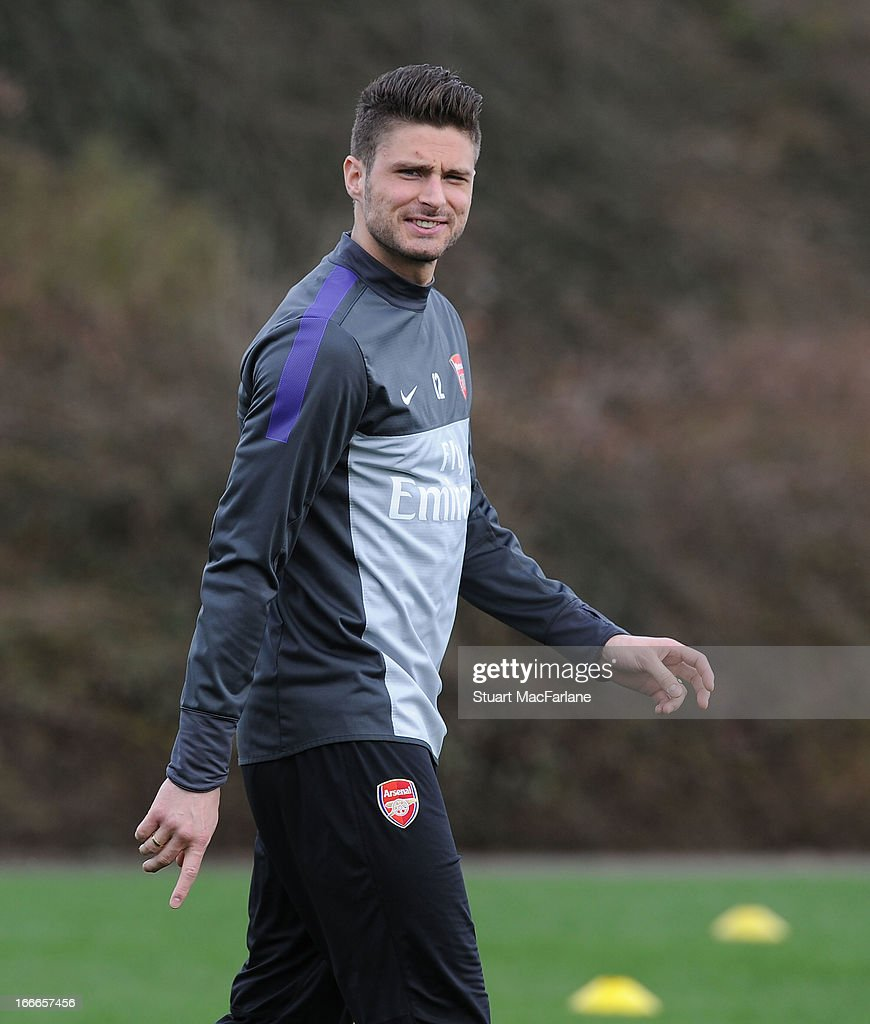 <a gi-track='captionPersonalityLinkClicked' href=/galleries/search?phrase=Olivier+Giroud&family=editorial&specificpeople=5678034 ng-click='$event.stopPropagation()'>Olivier Giroud</a> of Arsenal during a training session at London Colney on April 15, 2013 in St Albans, England.