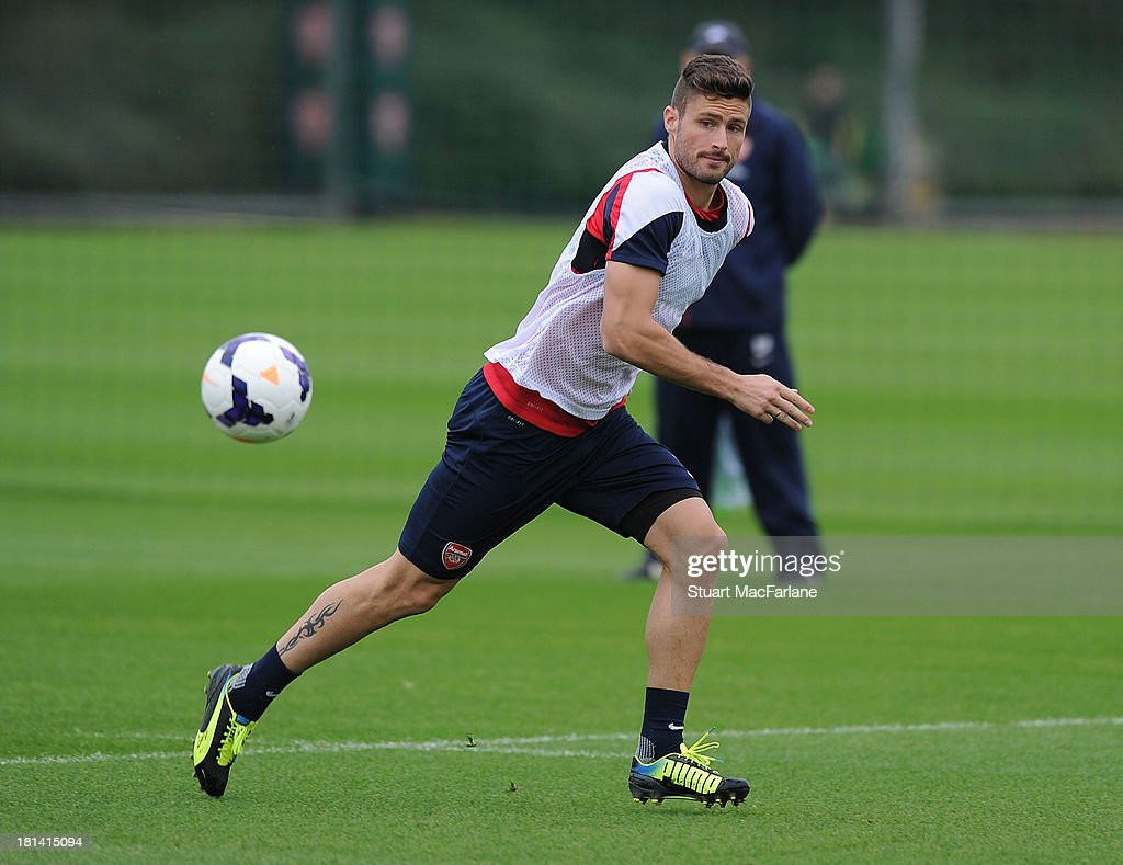 Olivier Giroud of Arsenal during a training session at London Colney on September 21, 2013 in St Albans, England.