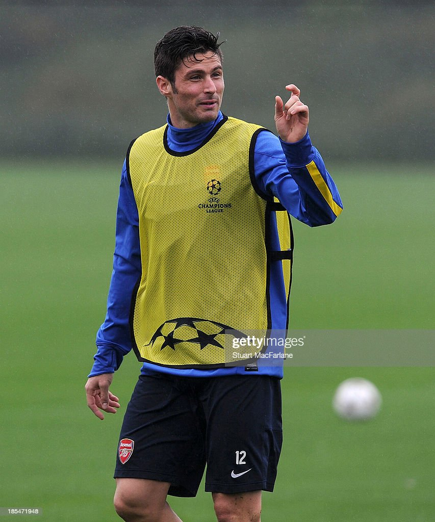 Olivier Giroud of Arsenal during a training session at London Colney on October 21, 2013 in St Albans, England.