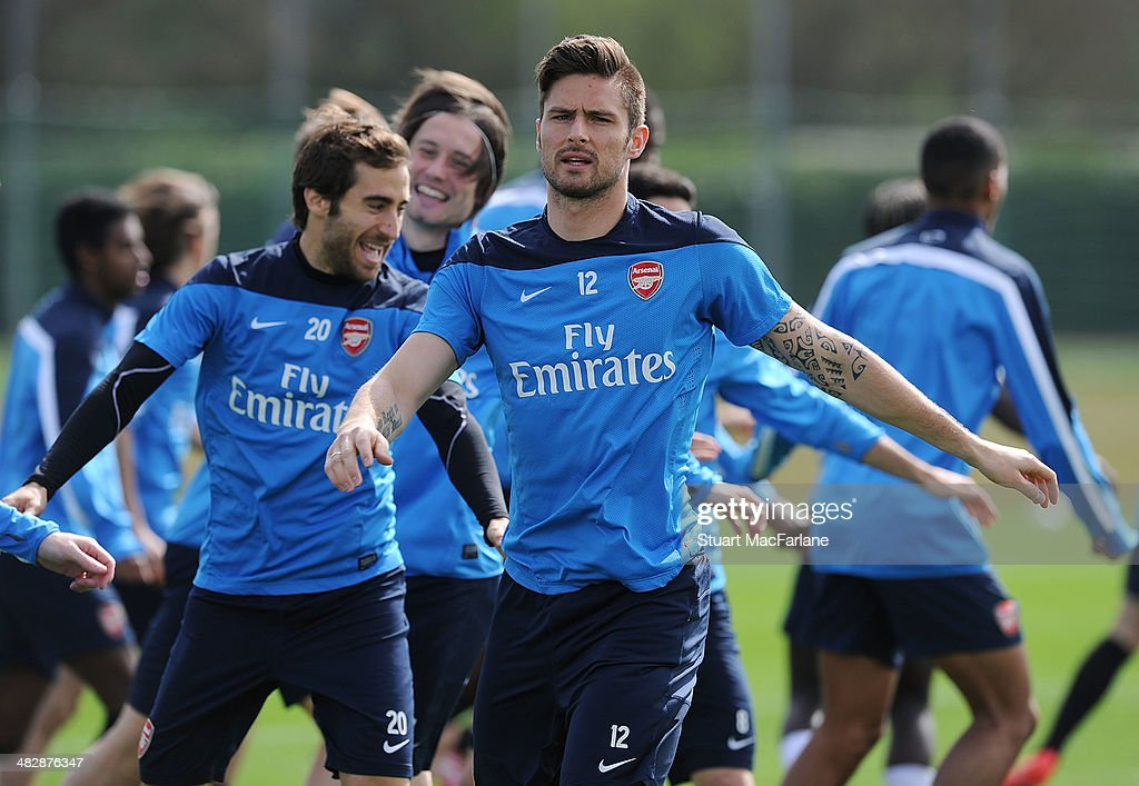 Olivier Giroud of Arsenal during a training session at London Colney on April 5, 2014 in St Albans, England.